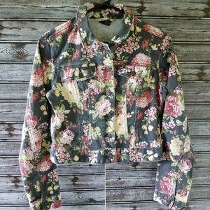 Rue 21 Floral Jean Jacket Size M